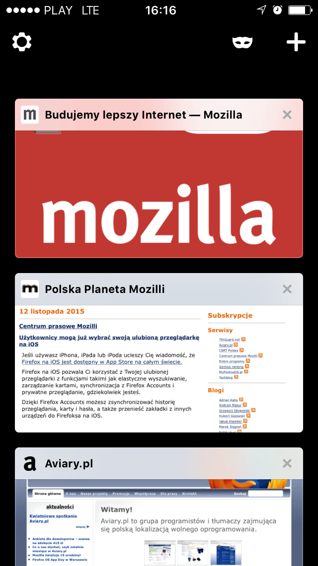 Firefox 1.1 na iOSa - karty