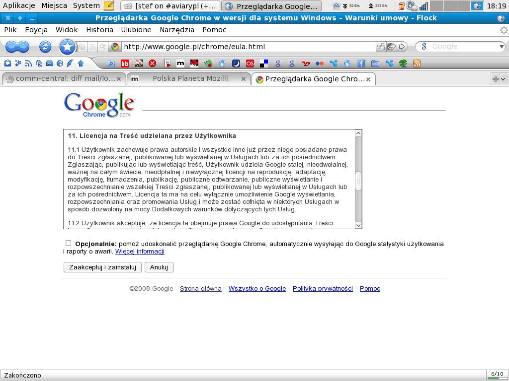 Google Chrome – eula, §11.1