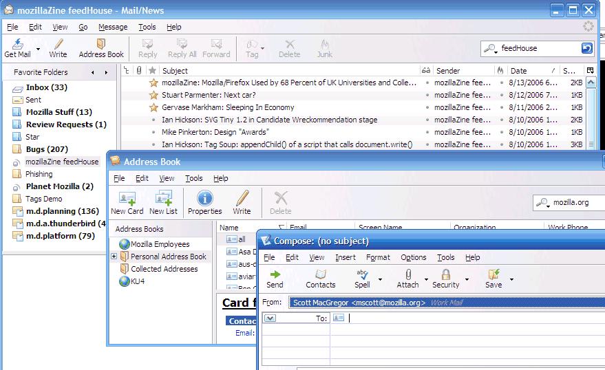 Thunderbird 2.0pre - zrzut okien głównych programu