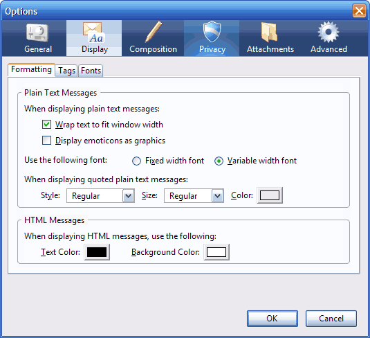 Thunderbird 2.0pre - zrzut okna opcji programu